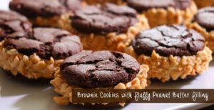 Brownie Cookies with Fluffy Peanut Butter Filling