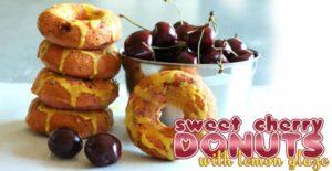 Sweet Cherry Donuts with Lemon Glaze