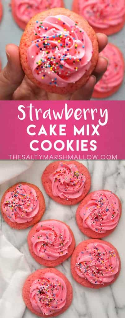 Strawberry Cake Mix Cookies - The Salty Marshmallow