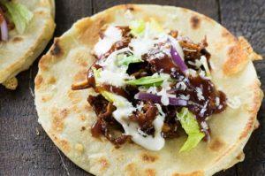 BBQ Ranch Chicken Quesadilla Tacos