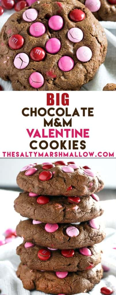 Big Chocolate M&M Valentine's Day Cookies - The Salty Marshmallow