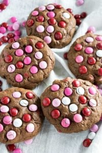 Big Chocolate M&M Valentine's Day Cookies