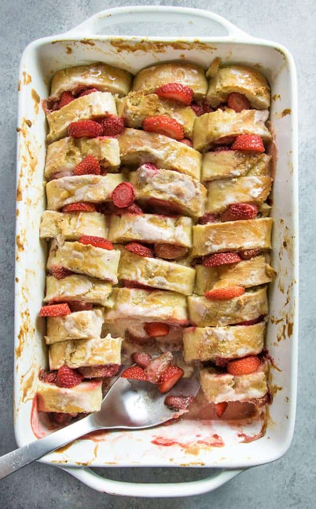 overnight french toast with lemon and strawberry