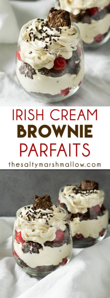 brownie parfaits with irish cream whipped cream