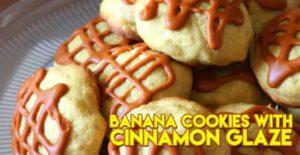 Soft Banana Cookies with Cinnamon Glaze