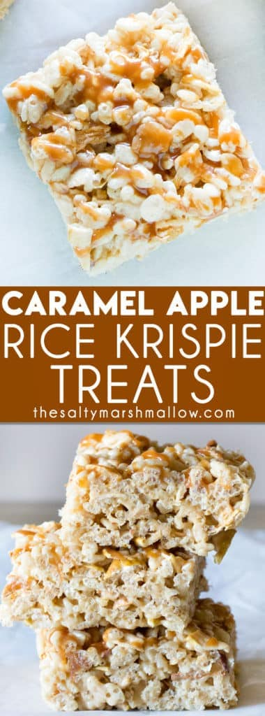 Caramel Apple Rice Krispie Treats are the perfect recipe to make with your kids this fall!  A great easy rice krispie treat for fall parties that's loaded with caramel apple flavor!