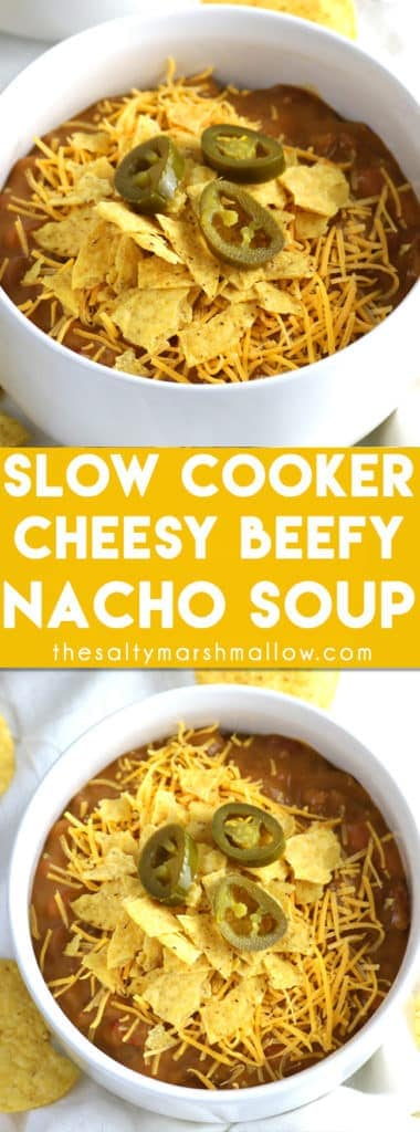 This Slow Cooker Cheesy & Beefy Nacho soup is a super easy crockpot or slow cooker soup recipe that the whole family will love for dinner! Quick and easy to make for a weeknight, loaded with nacho flavor and extra delicious topped with sour cream!