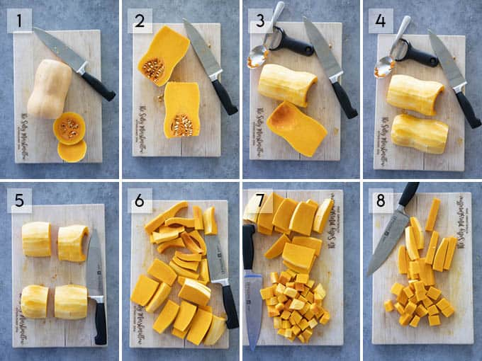 photo collage how to peel butternut squash