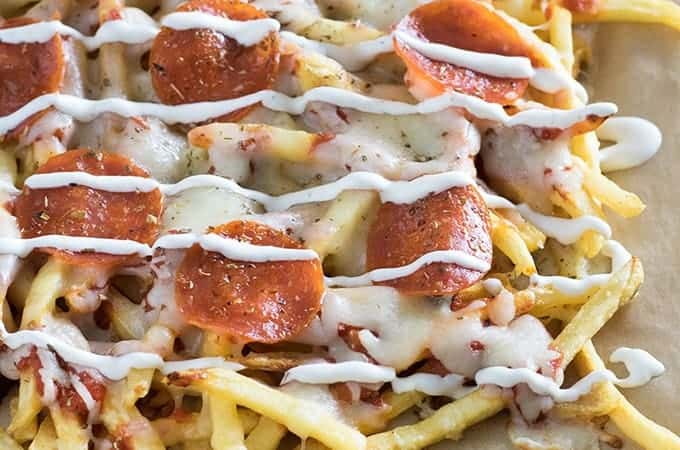 Pepperoni pizza made with french fries crust is a ...  Pepperoni Pizza French Fries