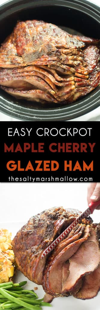 Maple Cherry Slow Cooker Ham makes cooking a spiral ham so easy for all of your holiday meals!  This ham has a delicious glaze full of maple, cherry, and brown sugar! #hamrecipes #easyhamrecipes #slowcookerham #thansgiving #christmasham #easterham #thesaltymarshmallow