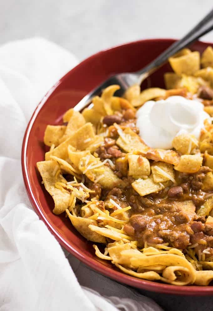 Crockpot Chili Frito Pie The Salty Marshmallow