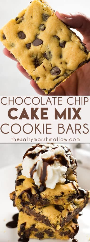 CAKE MIX COOKIE BARS are super easy to make with only a few ingredients and yellow cake mix! These chocolate chip cookie bars are soft and chewy!