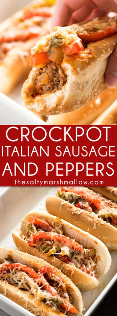 Crockpot Sausage and Peppers: This Italian sausage and peppers is one of my favorite, easy, crockpot dinner recipes that the whole family will love! The best sausage and peppers simmered in marinara sauce right in the slow cooker, perfect for sausage and pepper sandwiches or served over pasta! #sausage #italiansausage #sausageandpeppers #crockpot #slowcooker #thesaltymarshmallow
