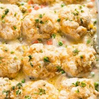 chicken pot pie casserole with biscuits