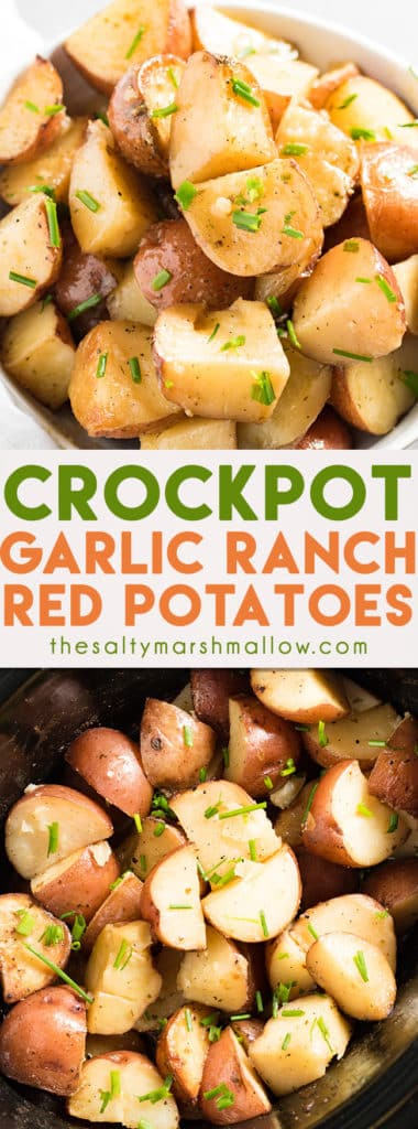 Crockpot Garlic Ranch Red Potatoes are the best ever red potatoes roasted right in the crockpot or slow cooker! This recipe for red potatoes is super easy and bursting with garlic and ranch flavor. A perfect side dish for busy weeknight dinners or for any holiday party!