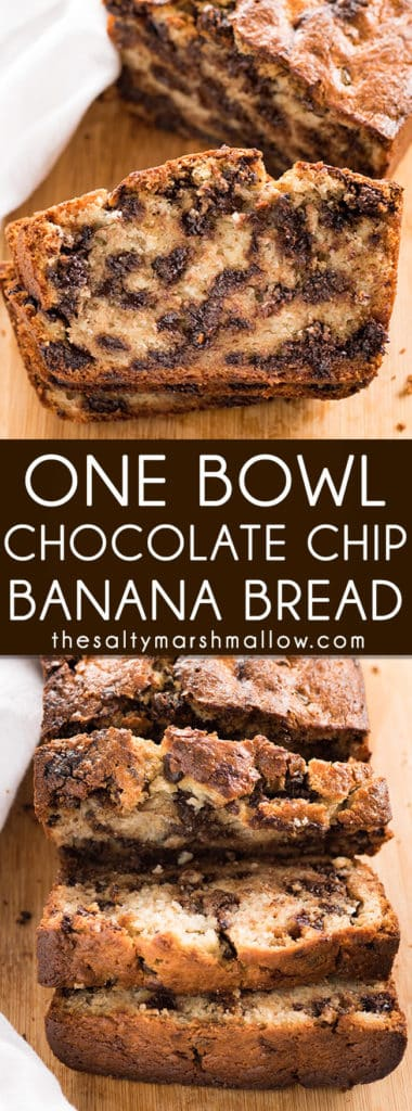 One Bowl Chocolate Chip Banana Bread - The absolute best, super moist banana bread recipe that is easy to make in just one bowl!  This banana bread is full of chocolate chips for even more decadence! #bananabread #bananas #easybananabread #chocolatechipbananabread #thesaltymarshmallow