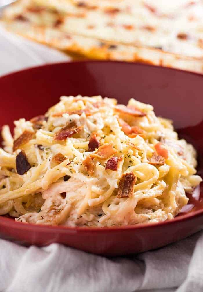 Million dollar chicken baked spaghetti is easy to make, budget friendly, and the perfect weeknight dinner!