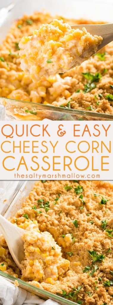 This cheesy corn is a super easy to put together side dish - full of corn, three different cheeses, and garlic, this skillet is packed with melty deliciousness and flavor - a perfect casserole for any day of the week or any holdiay with minimal work and only 20 minutes from your oven to your table!