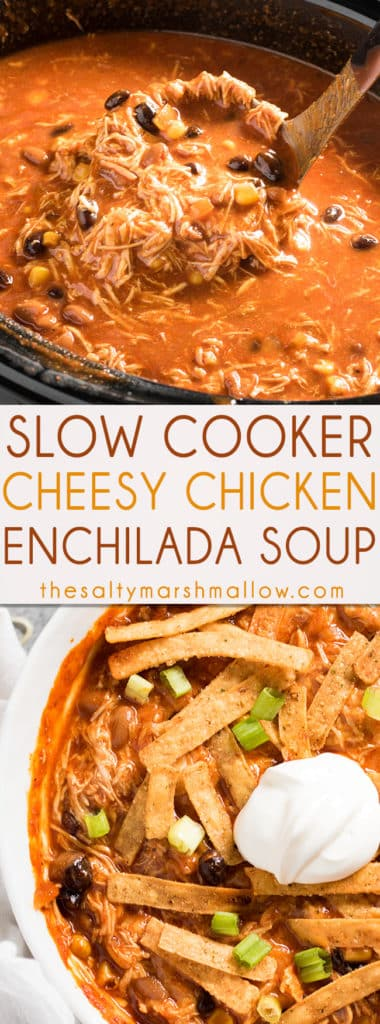 SLOW COOKER CHICKEN ENCHILADA SOUP -The best ever enchilada soup that is creamy, cheesy, packed full of tender chicken and amazing flavor! This chicken enchilada soup is easy to make in your slow cooker for a cozy fall or winter dinner!