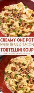 Creamy White Bean and Bacon Tortellini Soup - This creamy tortellini soup is the absolute best soup for fall and winter! Easy to make using only one pot, full of bacon, white beans, cheese tortellini!