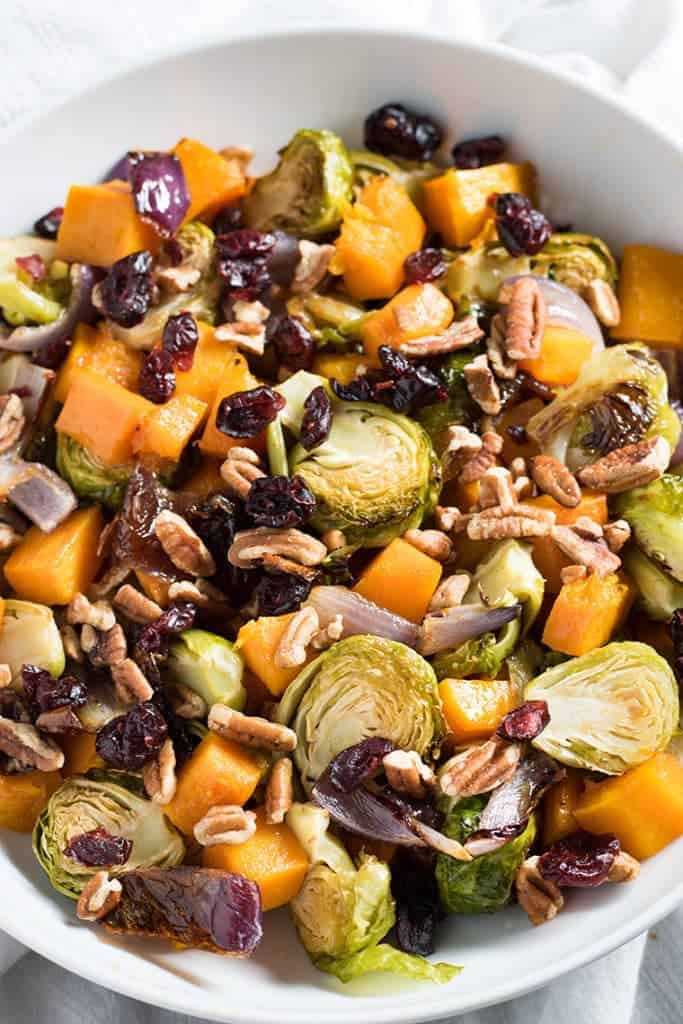 Butternut Squash and Brussel Sprouts Roasted