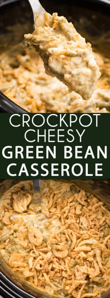 Cheesy Crockpot Green Bean Casserole -This green bean casserole recipe is everyone's favorite holiday side dish made even easier in the Crockpot! Full of either fresh, frozen, or canned green beans, cream of mushroom soup, french fried onions and cheese this casserole is an easy crowd pleaser!