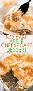 No Bake Apple Cheesecake Dessert - This easy to make apple dessert is so delicious, with just a few ingredients!  A no-bake graham cracker crust filled with a creamy cinnamon sugar cheesecake and topped with apple pie filling!