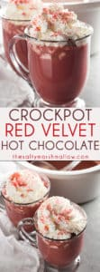 Crockpot Red Velvet Hot Chocolate - This indulgent, rich and creamy hot chocolate is made easy in the crockpot!  Red velvet hot chocolate is the perfect treat to warm you up this holiday season!