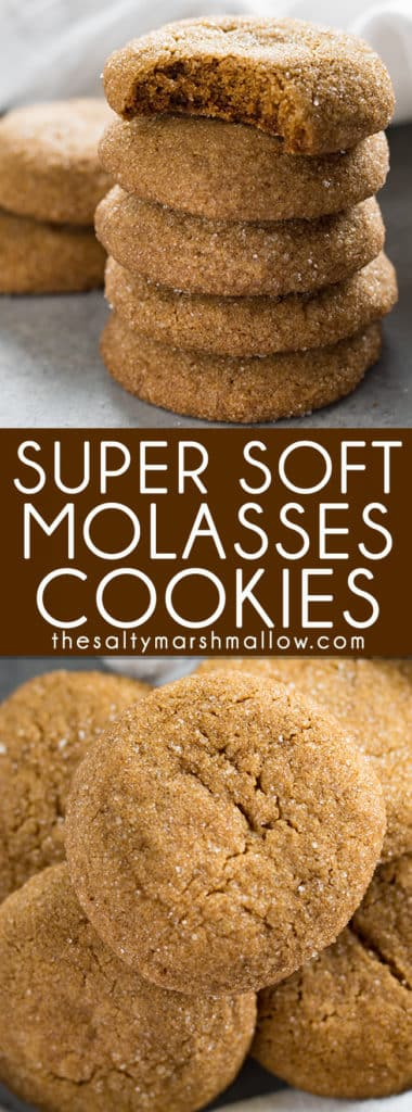 Old Fashioned Soft Molasses Cookies - These molasses cookies are an old fashionedholiday favorite! Super soft and packed with the amazing, rich flavors of molasses, ginger, and cinnamon. Just like Grandma used to make!