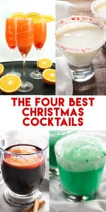 Four of the best cocktails for all of your holiday and Christmas parties! These cocktail recipes are easy to make and fun for a crowd!