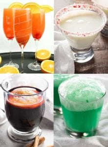 Four Christmas and Holiday Cocktails. Mulled Wine, Grinch Cocktail, White Christmas Cocktail, Mimosa Punch.