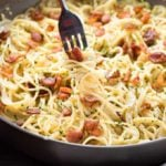 Bacon ranch pasta with garlic and parmesan cream sauce cooked in one pan