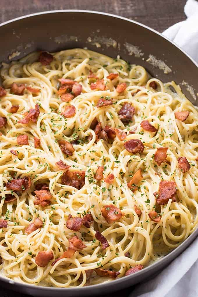Creamy garlic parmesan pasta with bacon in ranch made in one pot