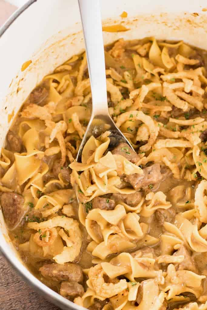 Easy beef and noodles with french onion soup