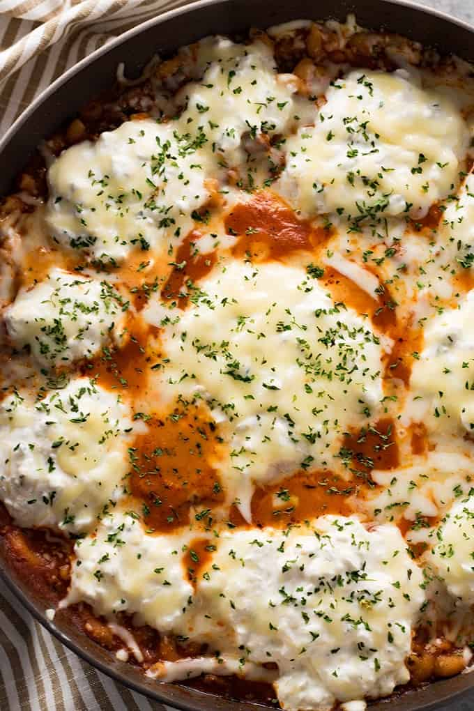 One pot cottage cheese lasagna made with macaroni