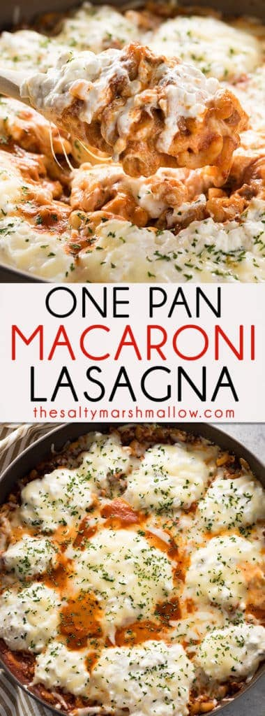 One Pan Macaroni Lasagna - An easy recipe for lasagna made in one skillet with ground beef, macaroni noodles, and cheese!