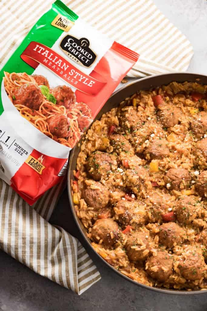 Meatballs and rice casserole in one skillet