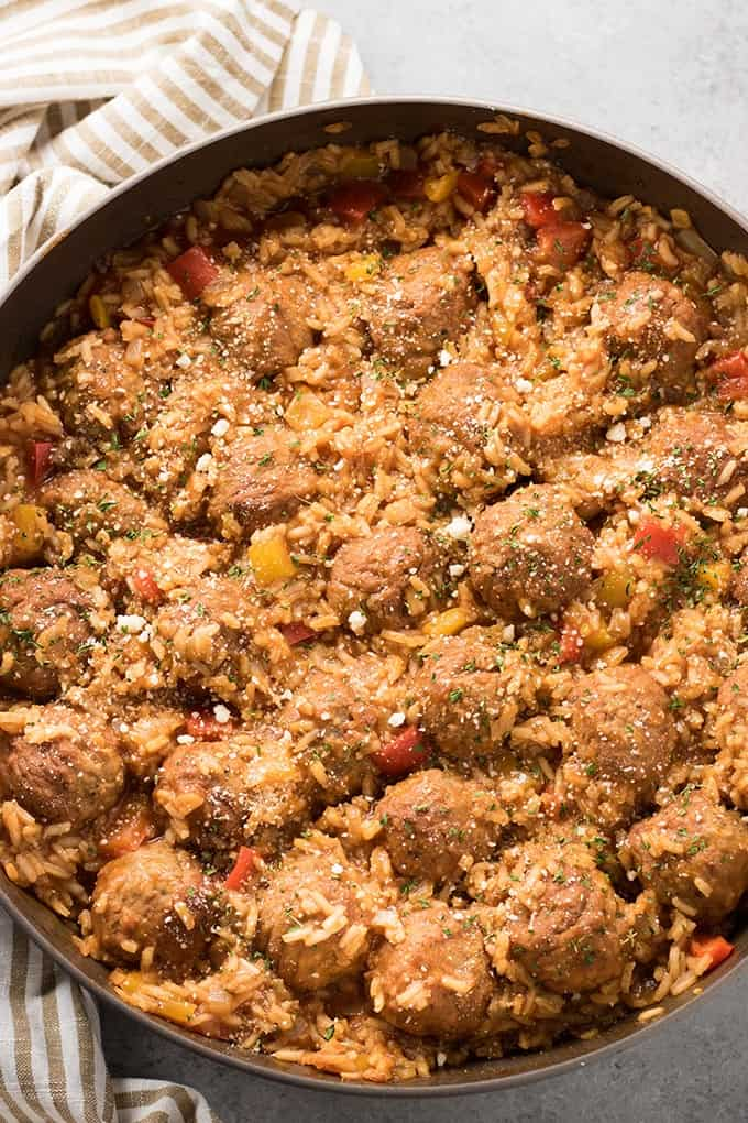 one skillet italian meatballs with rice