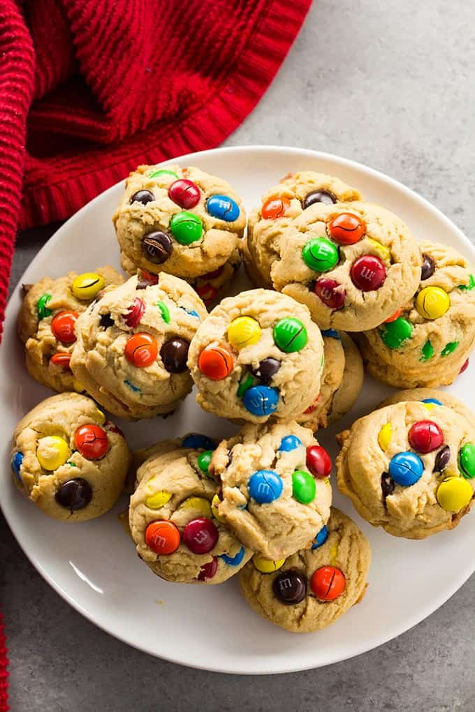 Easy Peanut Butter M&M cookies no chill dough