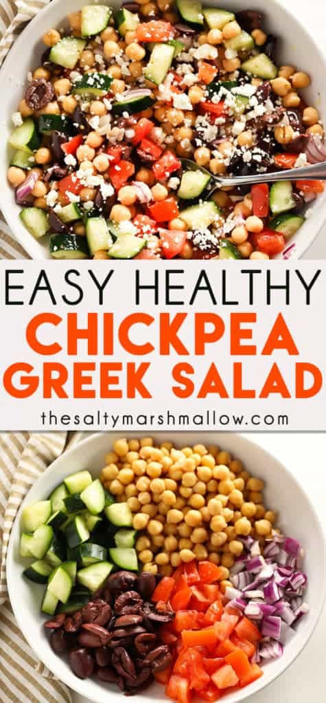Easy Greek Chickpea Salad is a mouthwatering healthy salad that is packed full of amazing flavors and textures!  Chickpeas come together with fresh vegetables, olives, cheese, and a simple dressing for the best and easiest chickpea salad ever! #salad #thesaltymarshmallow #chickpeasalad #greeksalad