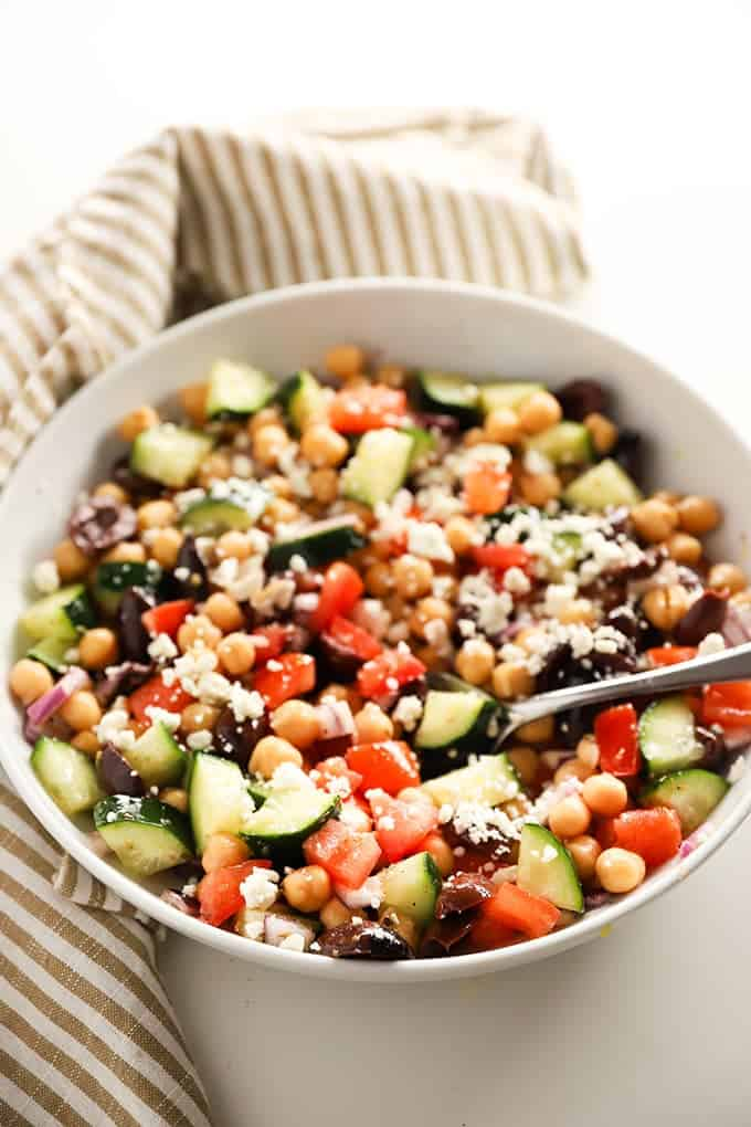 Greek chickpea salad in bowl