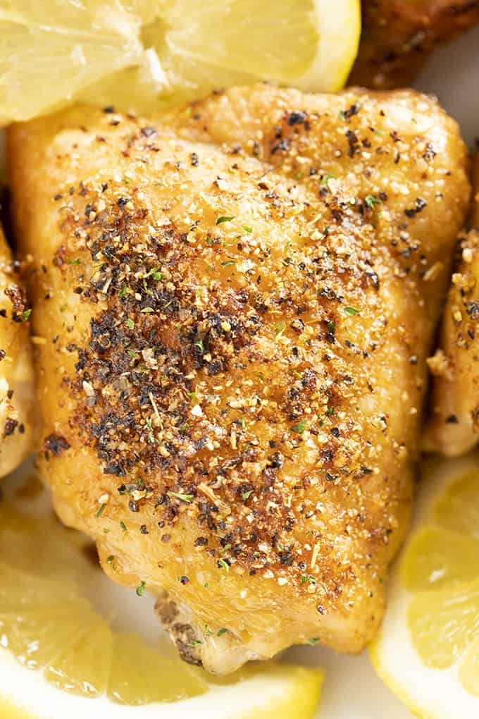 lemon pepper oven roasted chicken thighs