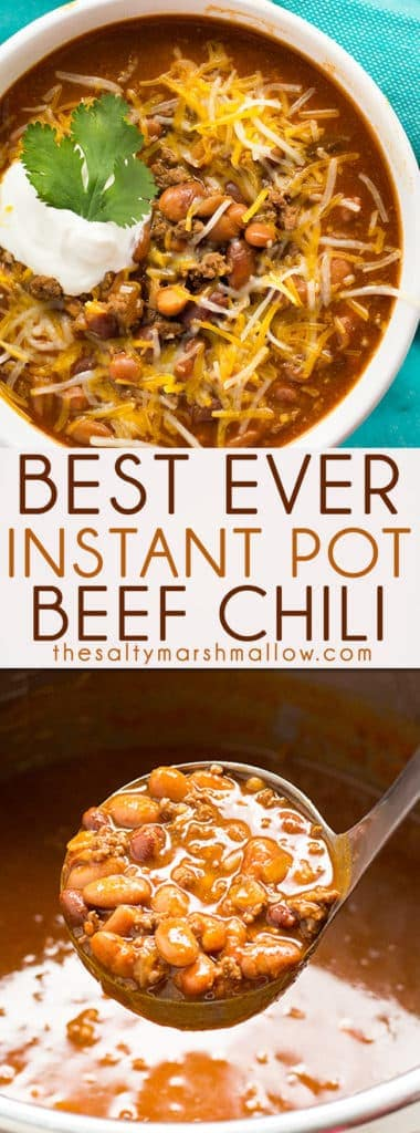 Best Easy Instant Pot Chili is simple to make with a mouthwatering combination of beef and beans!  You can have a bowl of cozy chili that tastes like it simmered for hours ready in about 30 minutes! #instantpot #instantpotchili #chili #dinner #instantpotrecipes