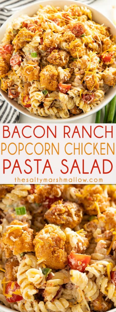 Popcorn Chicken Bacon Ranch Pasta Salad - This mouthwatering and easy to make pasta salad recipe is a summertime potluck favorite!  Full of crispy chicken, bacon, cheddar cheese, noodles, and creamy ranch dressing! #saltymarshmallow #pastasalad #potluck #baconranch #popcornchicken