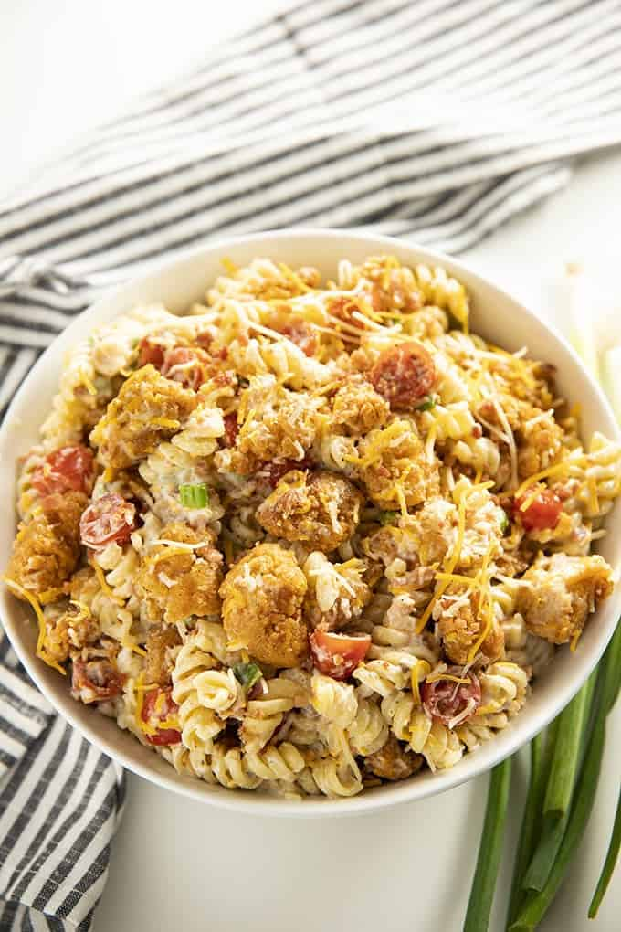 pasta salad with crispy chicken bacon and ranch