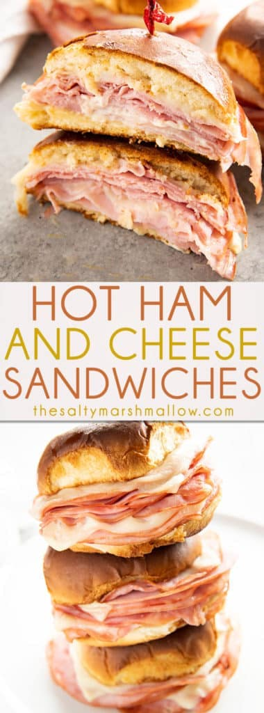 Hot Ham and Cheese Sandwiches are a takeout favorite made at home!  Buttery toasted buns are baked with layers of ham and gooey cheese for a fun and easy weeknight dinner! #hamandcheese #hothamandcheese #easydinnerrecipes #thesaltymarshmallow