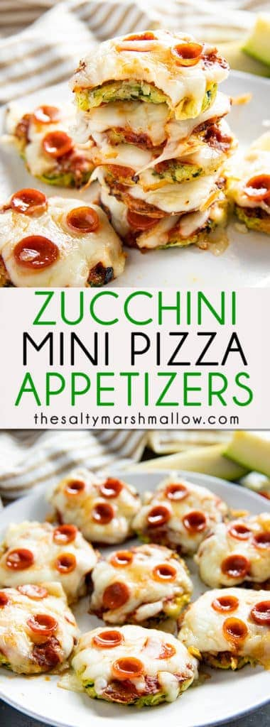 Mini Zucchini Pizzas are a fun and easy summer appetizer featuring a savory zucchini crust! Satisfy your pizza cravings with these bite-sized pizzas for a tasty snack, lunch, or fun party dish! #zucchini #zucchinipizza #zucchinirecipes #thesaltymarshmallow