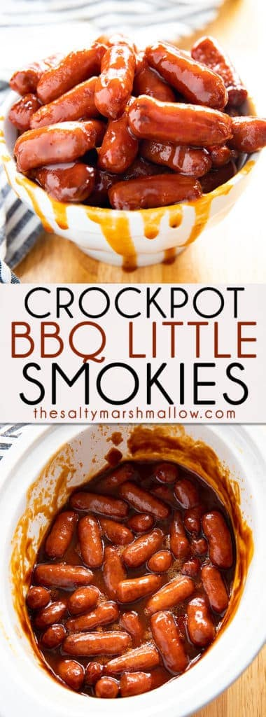 Crockpot BBQ Little Smokies are easy to prepare with only a handful of ingredients!  Little Smokies are simmered in a tangy, mouthwatering bbq sauce.  Perfect for dinner or to feed a crowd! #lilsmokies #littlesmokies #crockpotlittlesmokies #appetizers #gameday #thesaltymarshmallow