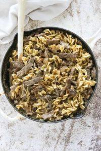 beef stroganoff in pan