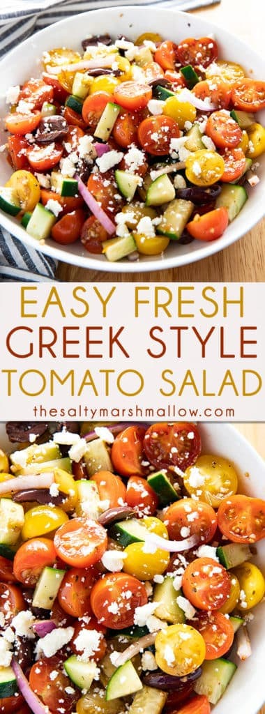 Easy Greek Tomato Salad is full of juicy, fresh, tomatoes along with cucumbers, onions, and olives! Topped with feta cheese and a simple dressing for amazing flavor! #salad #tomatosalad #easysaladrecipe #summersalad #healthysalad #greeksalad #thesaltymarshmallow